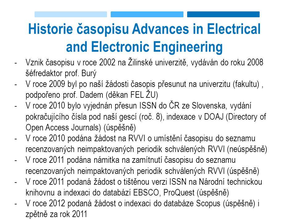 Historie časopisu Advances in Electrical and Electronic Engineering -Vznik časopisu v roce 2002 na Žilinské univerzitě, vydáván do roku 2008 šéfredaktor prof.