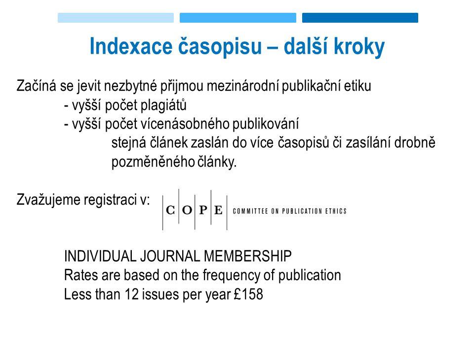 Indexace časopisu – další kroky Začíná se jevit nezbytné přijmou mezinárodní publikační etiku - vyšší počet plagiátů - vyšší počet vícenásobného publikování stejná článek zaslán do více časopisů či zasílání drobně pozměněného články.
