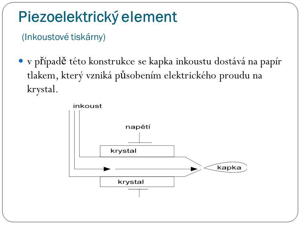Piezoelektrický element (Inkoustové tiskárny) v p ř ípad ě této konstrukce se kapka inkoustu dostává na papír tlakem, který vzniká p ů sobením elektrického proudu na krystal.