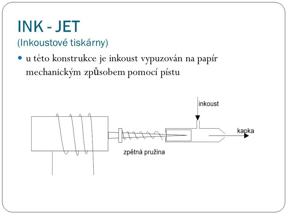 INK - JET (Inkoustové tiskárny) u této konstrukce je inkoust vypuzován na papír mechanickým zp ů sobem pomocí pístu