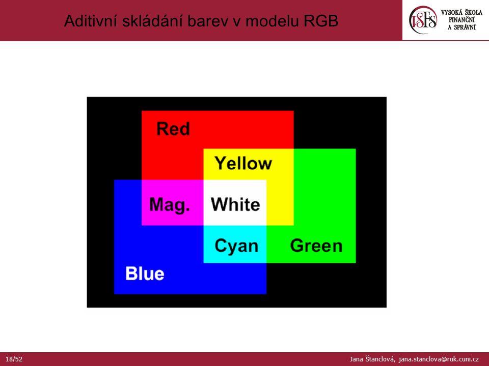 Aditivní skládání barev v modelu RGB 18/52 Jana Štanclová, jana.stanclova@ruk.cuni.cz