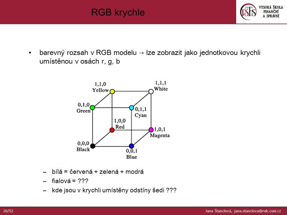 barevný rozsah v RGB modelu → lze zobrazit jako jednotkovou krychli umístěnou v osách r, g, b –bílá = červená + zelená + modrá –fialová = ??? –kde jso