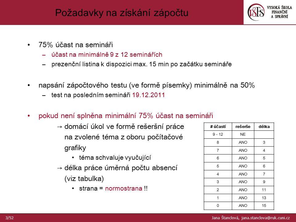 75% účast na semináři –účast na minimálně 9 z 12 seminářích –prezenční listina k dispozici max. 15 min po začátku semináře napsání zápočtového testu (