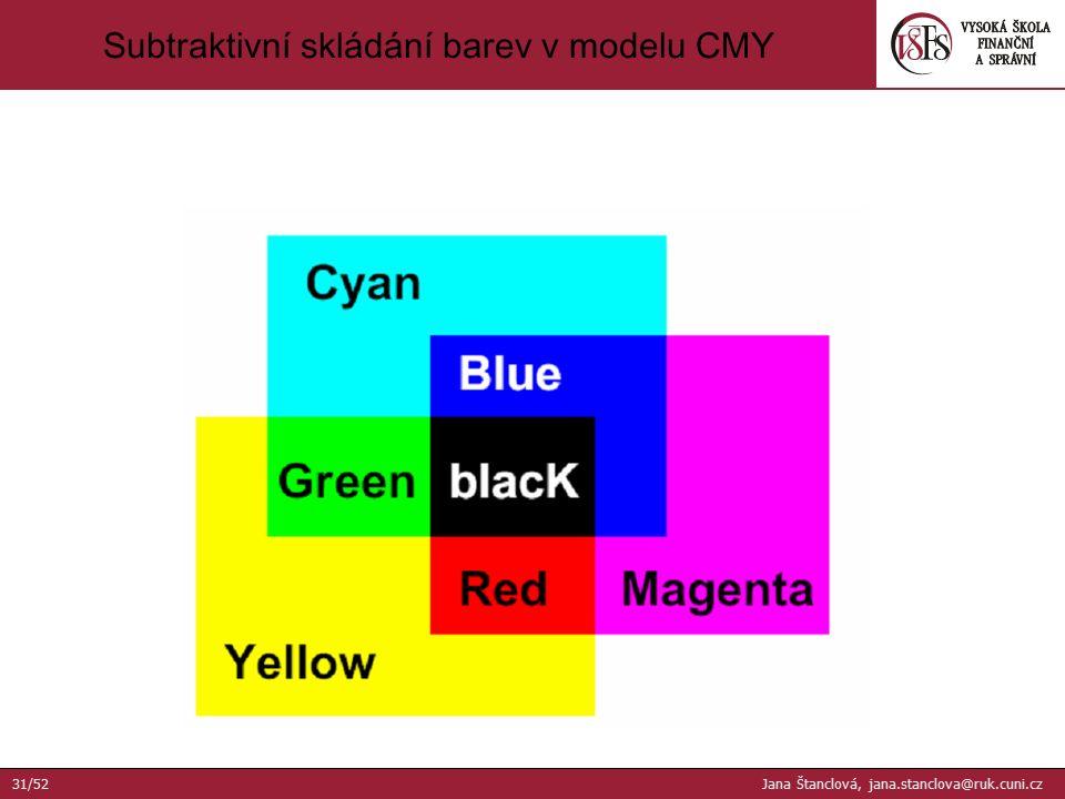 31/52 Jana Štanclová, jana.stanclova@ruk.cuni.cz Subtraktivní skládání barev v modelu CMY