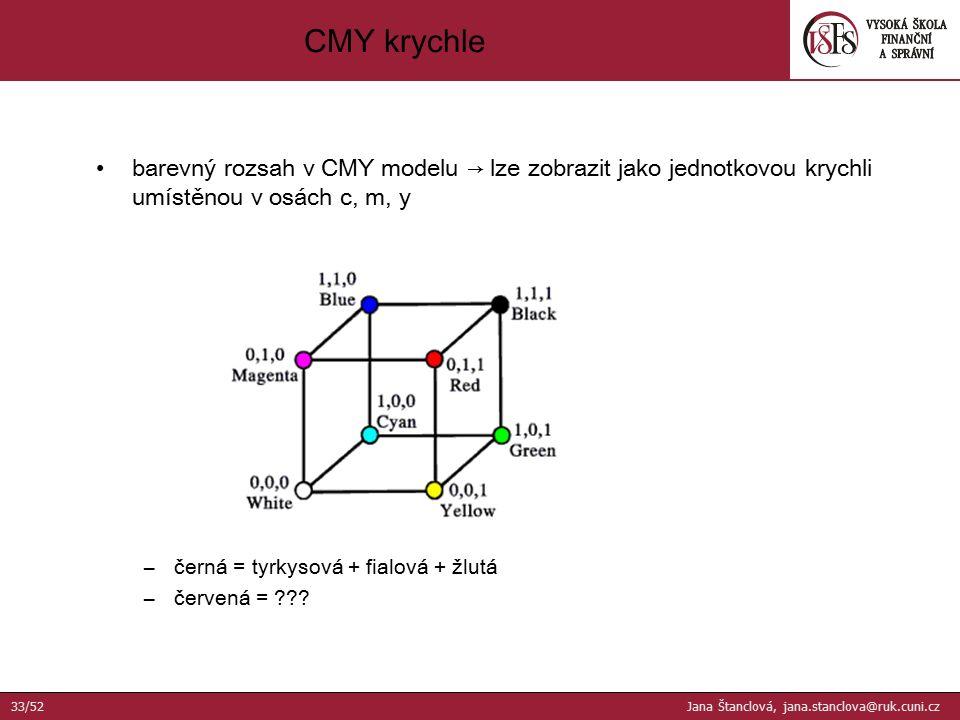 barevný rozsah v CMY modelu → lze zobrazit jako jednotkovou krychli umístěnou v osách c, m, y –černá = tyrkysová + fialová + žlutá –červená = ??? CMY