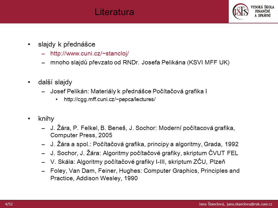 slajdy k přednášce –http://www.cuni.cz/~stancloj/ –mnoho slajdů převzato od RNDr. Josefa Pelikána (KSVI MFF UK) další slajdy –Josef Pelikán: Materiály