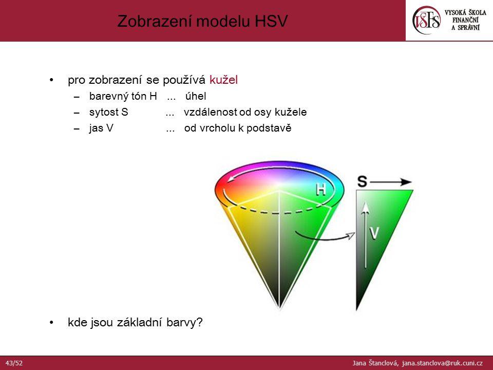 pro zobrazení se používá kužel –barevný tón H... úhel –sytost S... vzdálenost od osy kužele –jas V... od vrcholu k podstavě kde jsou základní barvy? Z