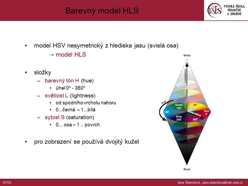 model HSV nesymetrický z hlediska jasu (svislá osa) → model HLS složky –barevný tón H (hue) úhel 0º - 360º –světlost L (lightness) od spodního vrcholu