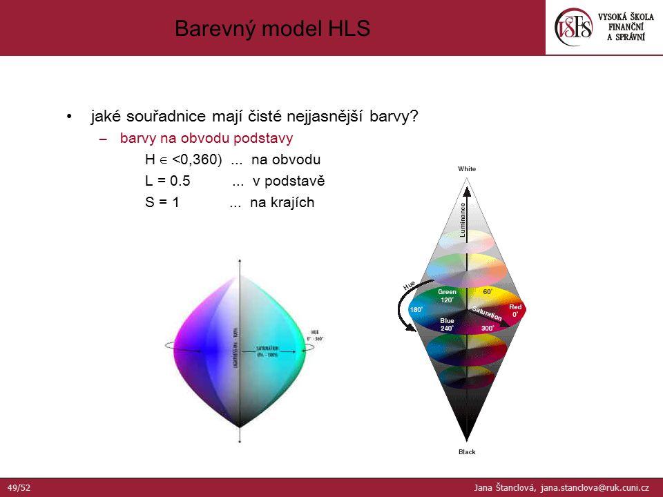 jaké souřadnice mají čisté nejjasnější barvy? –barvy na obvodu podstavy H ∈ <0,360)... na obvodu L = 0.5... v podstavě S = 1... na krajích Barevný mod