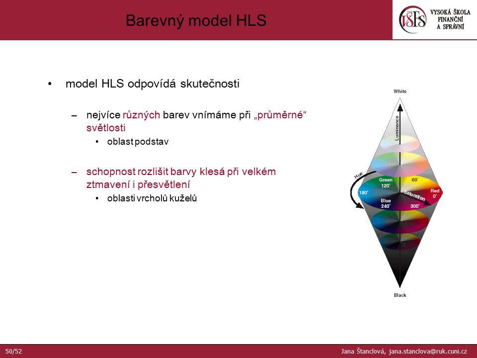 """model HLS odpovídá skutečnosti –nejvíce různých barev vnímáme při """"průměrné"""" světlosti oblast podstav –schopnost rozlišit barvy klesá při velkém ztmav"""
