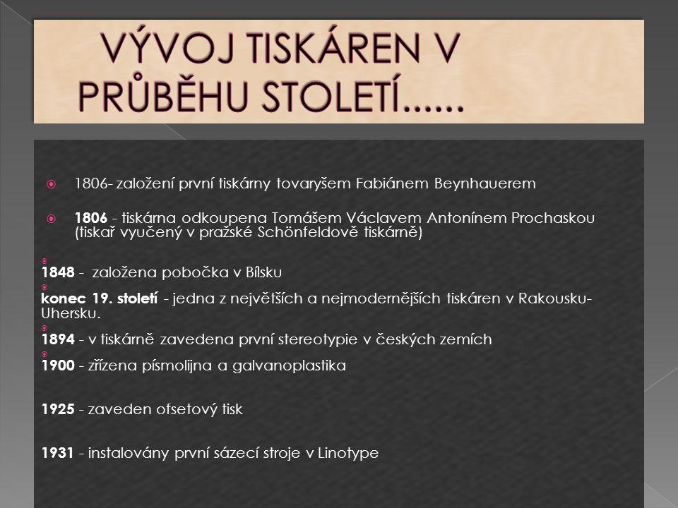  1806- založení první tiskárny tovaryšem Fabiánem Beynhauerem  1806 - tiskárna odkoupena Tomášem Václavem Antonínem Prochaskou (tiskař vyučený v pražské Schönfeldově tiskárně)  1848 - založena pobočka v Bílsku  konec 19.