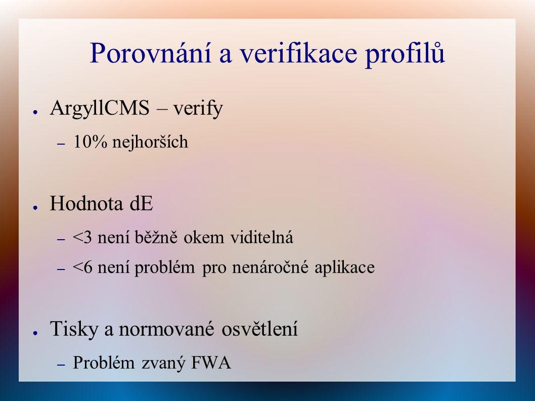 Porovnání a verifikace profilů ● ArgyllCMS – verify – 10% nejhorších ● Hodnota dE – <3 není běžně okem viditelná – <6 není problém pro nenáročné aplikace ● Tisky a normované osvětlení – Problém zvaný FWA