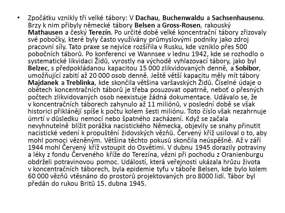 Zpočátku vznikly tři velké tábory: V Dachau, Buchenwaldu a Sachsenhausenu. Brzy k nim přibyly německé tábory Belsen a Gross-Rosen, rakouský Mathausen