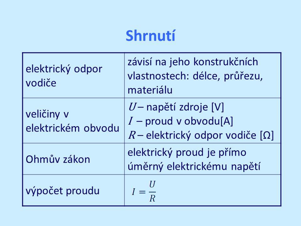 Shrnutí elektrický odpor vodiče závisí na jeho konstrukčních vlastnostech: délce, průřezu, materiálu veličiny v elektrickém obvodu U – napětí zdroje [V] I – proud v obvodu[A] R – elektrický odpor vodiče [Ω] Ohmův zákon elektrický proud je přímo úměrný elektrickému napětí výpočet proudu