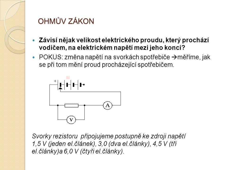 OHMŮV ZÁKON Závisí nějak velikost elektrického proudu, který prochází vodičem, na elektrickém napětí mezi jeho konci.