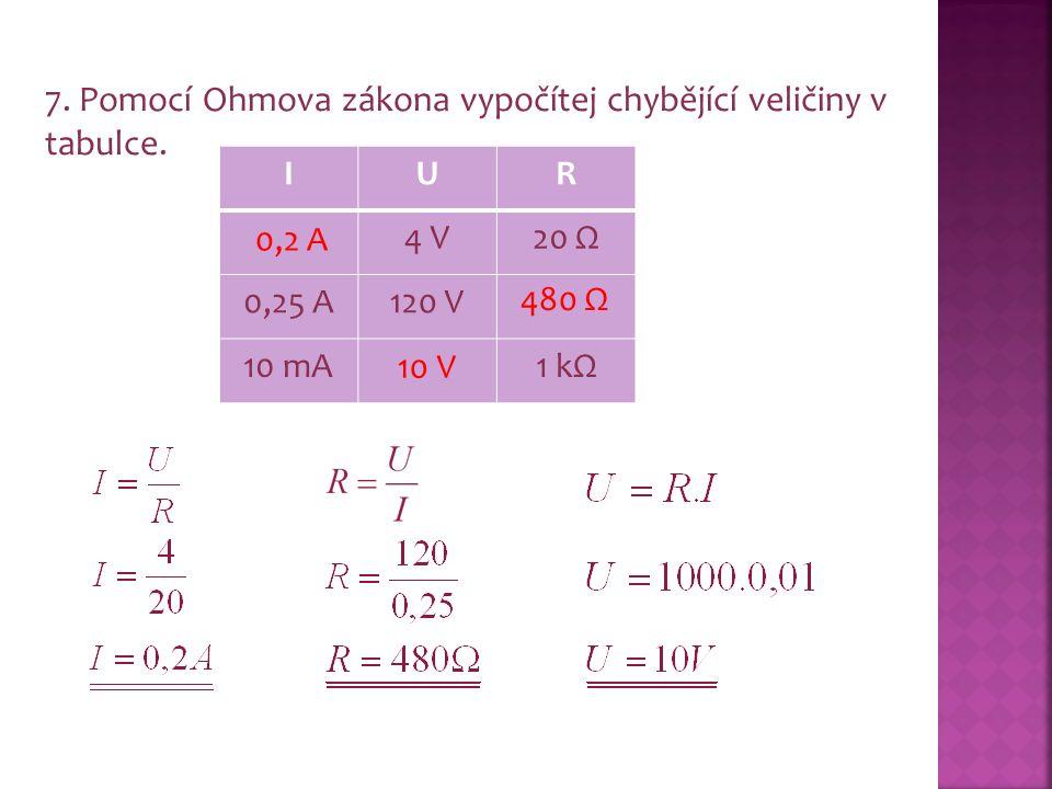 7. Pomocí Ohmova zákona vypočítej chybějící veličiny v tabulce.