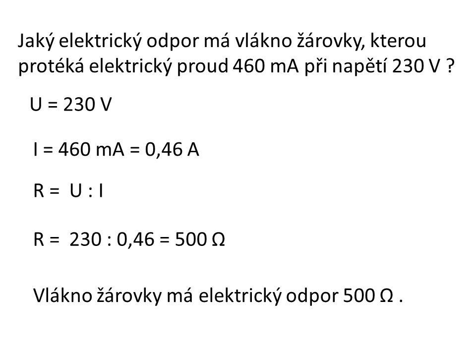 Jaké napětí jsme naměřili voltmetrem na rezistoru o elektrickém odporu 1 kΩ, kterým protéká elektrický proud 2 mA .