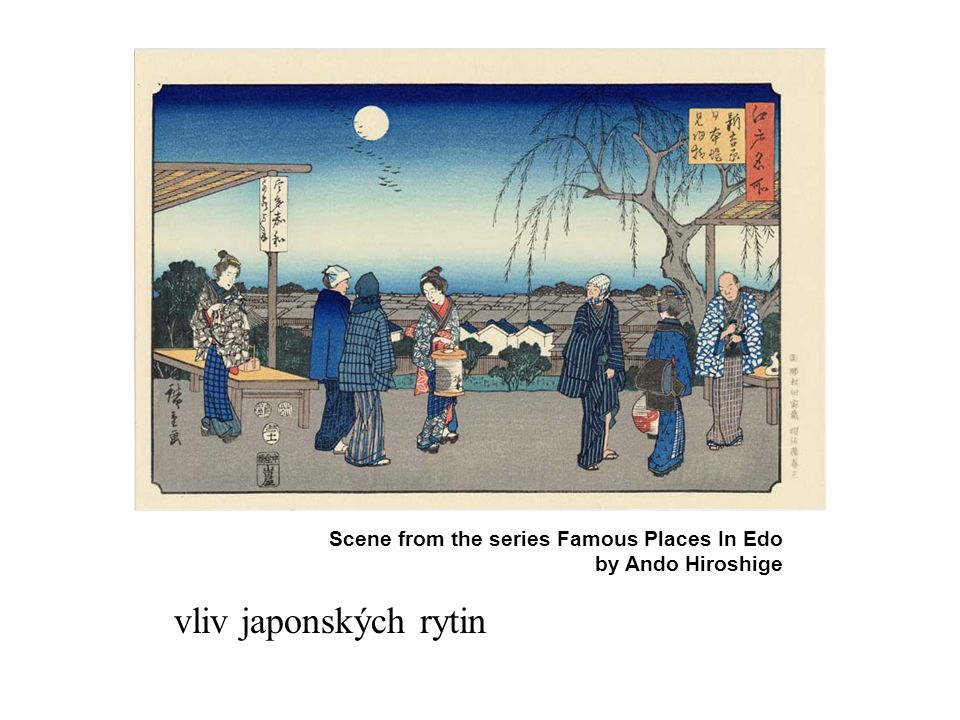 vliv japonských rytin Scene from the series Famous Places In Edo by Ando Hiroshige