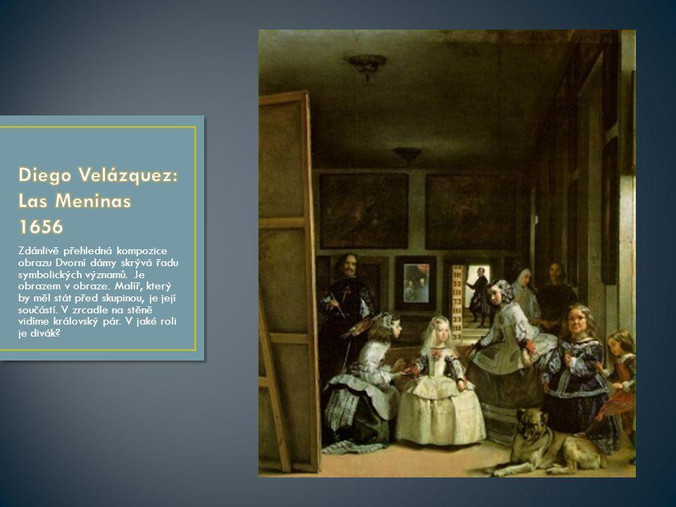Zdánlivě přehledná kompozice obrazu Dvorní dámy skrývá řadu symbolických významů.