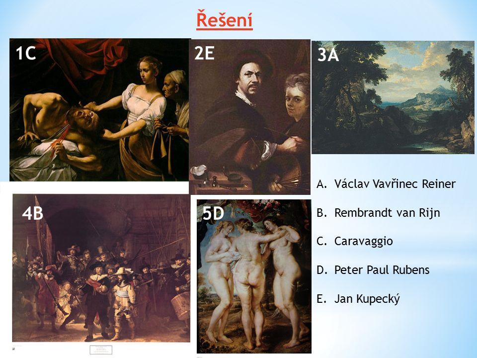 2E3 5D 1C 4B 3A A.Václav Vavřinec Reiner B.Rembrandt van Rijn C.Caravaggio D.Peter Paul Rubens E.Jan Kupecký Řešení