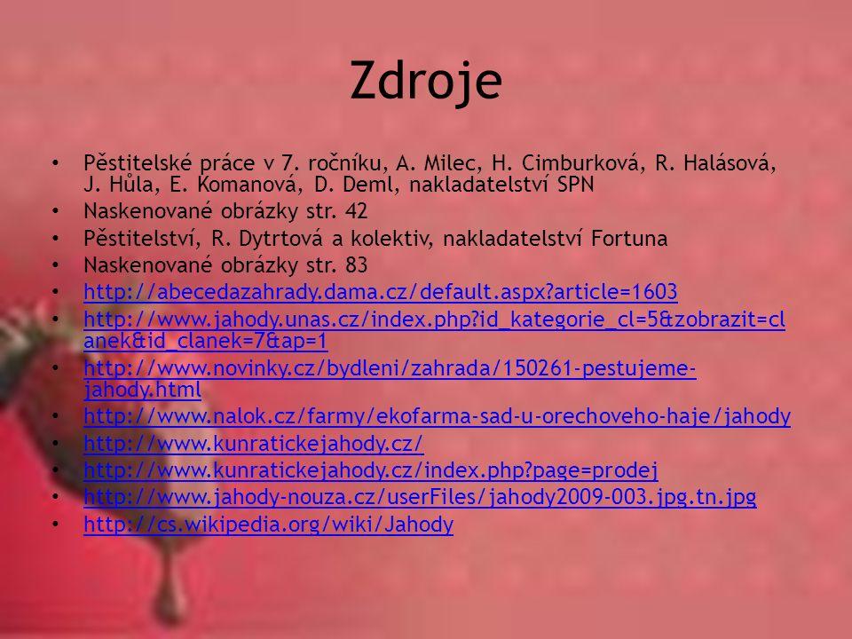 Zdroje Pěstitelské práce v 7. ročníku, A. Milec, H.