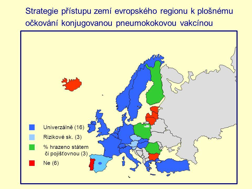 Strategie přístupu zemí evropského regionu k plošnému očkování konjugovanou pneumokokovou vakcínou Univerzálně (16) % hrazeno státem či pojišťovnou (3) Rizikové sk.