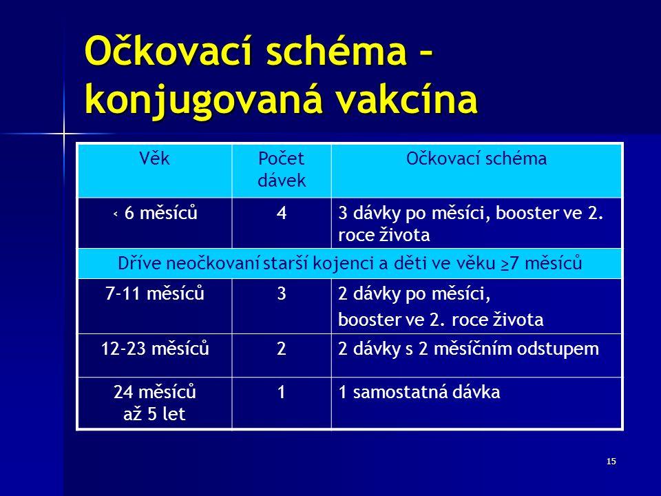 15 Očkovací schéma – konjugovaná vakcína VěkPočet dávek Očkovací schéma ‹ 6 měsíců43 dávky po měsíci, booster ve 2.