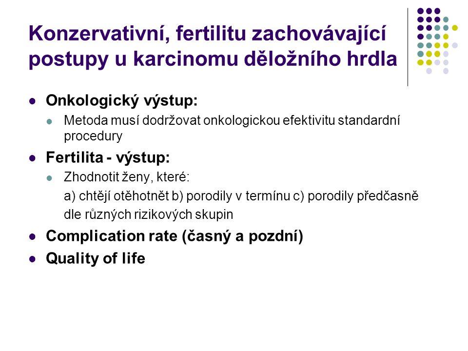 Konzervativní, fertilitu zachovávající postupy u karcinomu děložního hrdla Onkologický výstup: Metoda musí dodržovat onkologickou efektivitu standardn