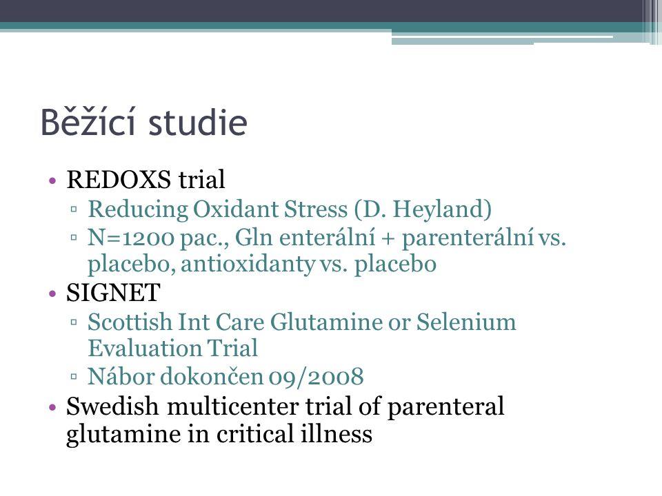 Běžící studie REDOXS trial ▫Reducing Oxidant Stress (D. Heyland) ▫N=1200 pac., Gln enterální + parenterální vs. placebo, antioxidanty vs. placebo SIGN