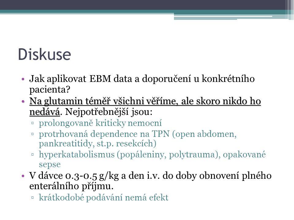 Diskuse Jak aplikovat EBM data a doporučení u konkrétního pacienta.