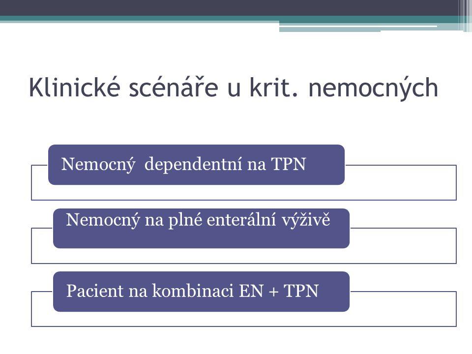 Klinické scénáře u krit. nemocných Nemocný dependentní na TPN Nemocný na plné enterální výživě Pacient na kombinaci EN + TPN