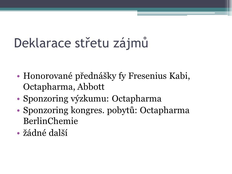 Deklarace střetu zájmů Honorované přednášky fy Fresenius Kabi, Octapharma, Abbott Sponzoring výzkumu: Octapharma Sponzoring kongres. pobytů: Octapharm