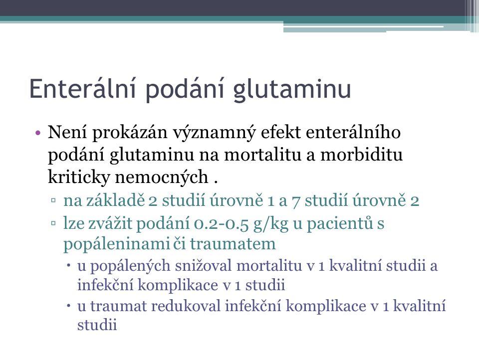 Enterální podání glutaminu Není prokázán významný efekt enterálního podání glutaminu na mortalitu a morbiditu kriticky nemocných. ▫na základě 2 studií