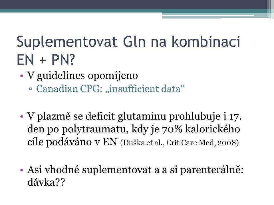 "Suplementovat Gln na kombinaci EN + PN? V guidelines opomíjeno ▫Canadian CPG: ""insufficient data"" V plazmě se deficit glutaminu prohlubuje i 17. den p"