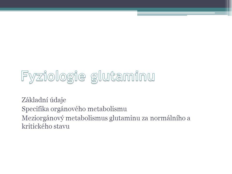 Glutamin – základní fakta Plazmatická hladina = 0,524-0,642 mM ▫ostatní AK: pouze desítky  M Intracelulární koncentrace cca 20mM ▫membrána: sekundárně aktivní transport (SNAT-1-3), liší se kinetikou, m.j.