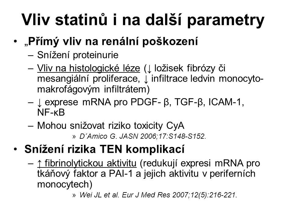 """Vliv statinů i na další parametry """"Přímý vliv na renální poškození –Snížení proteinurie –Vliv na histologické léze (↓ ložisek fibrózy či mesangiální proliferace, ↓ infiltrace ledvin monocyto- makrofágovým infiltrátem) –↓ exprese mRNA pro PDGF- β, TGF-β, ICAM-1, NF-κB –Mohou snižovat riziko toxicity CyA »D´Amico G."""
