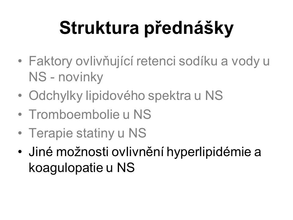 Struktura přednášky Faktory ovlivňující retenci sodíku a vody u NS - novinky Odchylky lipidového spektra u NS Tromboembolie u NS Terapie statiny u NS Jiné možnosti ovlivnění hyperlipidémie a koagulopatie u NS