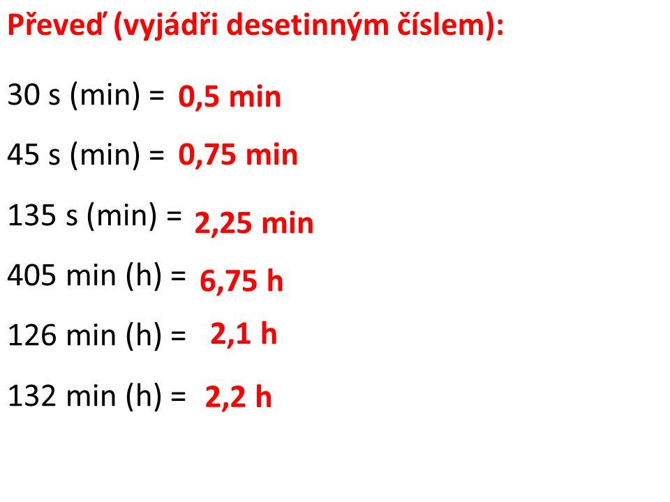 Převeď (vyjádři desetinným číslem): 30 s (min) = 45 s (min) = 135 s (min) = 405 min (h) = 126 min (h) = 132 min (h) = 0,5 min 0,75 min 2,25 min 6,75 h 2,1 h 2,2 h