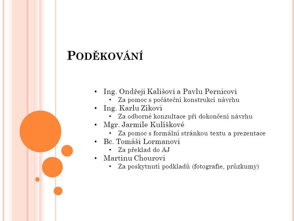 P ODĚKOVÁNÍ Ing. Ondřeji Kališovi a Pavlu Pernicovi Za pomoc s počáteční konstrukcí návrhu Ing.