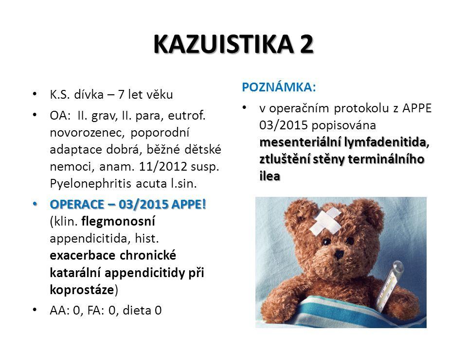 KAZUISTIKA 2 K.S. dívka – 7 let věku OA: II. grav, II. para, eutrof. novorozenec, poporodní adaptace dobrá, běžné dětské nemoci, anam. 11/2012 susp. P