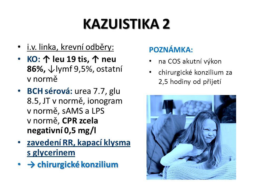 KAZUISTIKA 2 i.v. linka, krevní odběry: KO: ↑ leu 19 tis, ↑ neu 86%, ↓lymf 9,5%, ostatní v normě BCH sérová: urea 7.7, glu 8.5, JT v normě, ionogram v