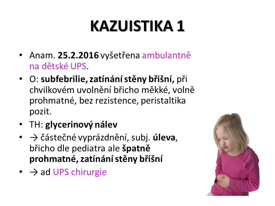 KAZUISTIKA 3 dětská JIP → dětská JIP – antibiotika: piperacilin + tazobactam piperacilin + tazobactam 3x denně 10 dnů metronidazol metronidazol 2 dny – metoklopramid i.v.