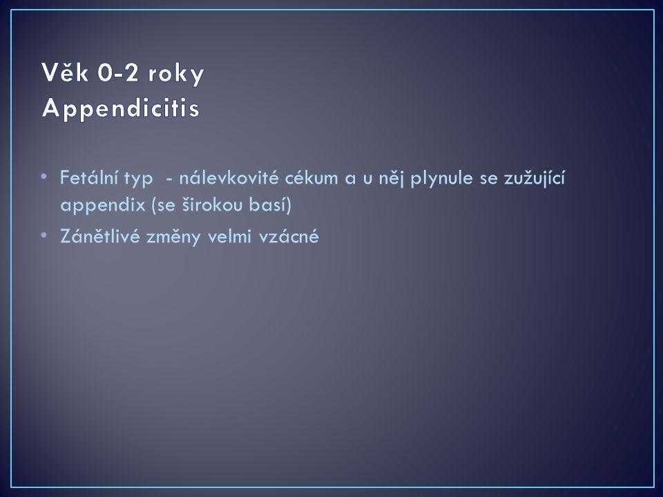 Fetální typ - nálevkovité cékum a u něj plynule se zužující appendix (se širokou basí) Zánětlivé změny velmi vzácné