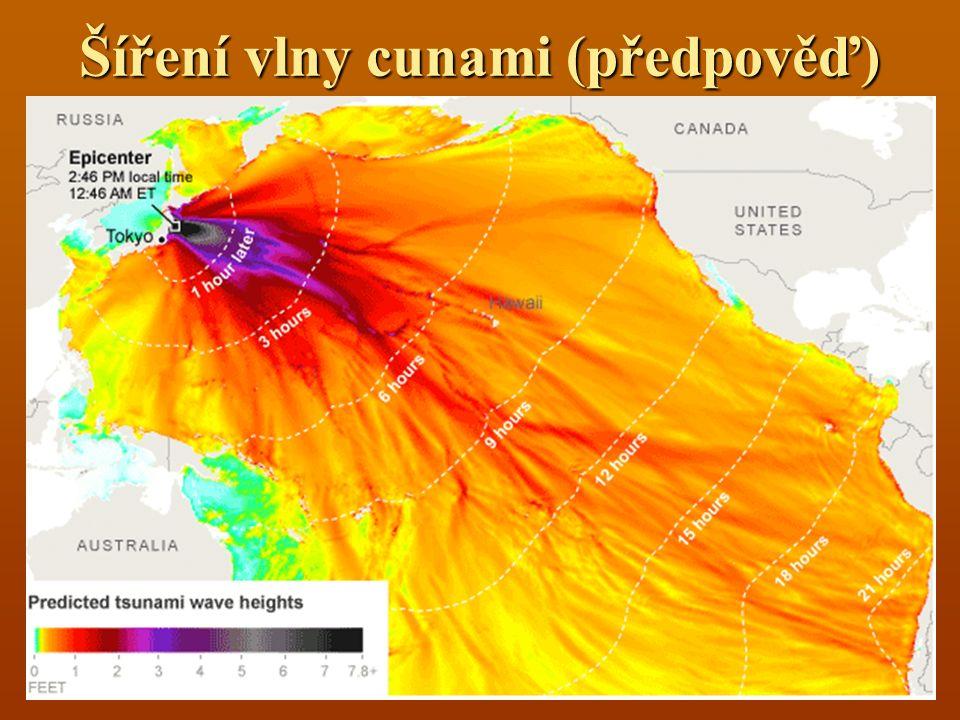 Šíření vlny cunami (předpověď)