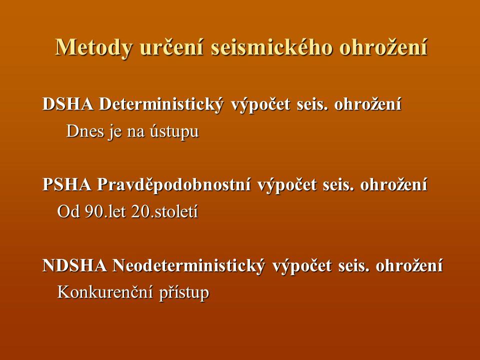 Metody určení seismického ohrožení DSHA Deterministický výpočet seis. ohrožení Dnes je na ústupu PSHA Pravděpodobnostní výpočet seis. ohrožení Od 90.l