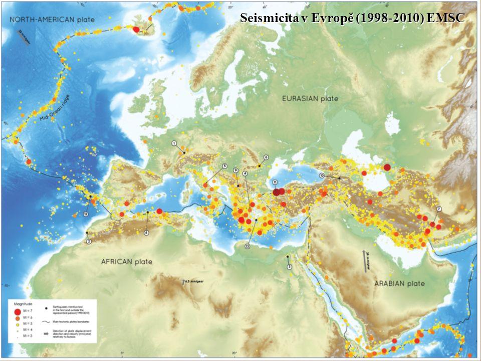 Seismicita v Evropě (1998-2010) EMSC