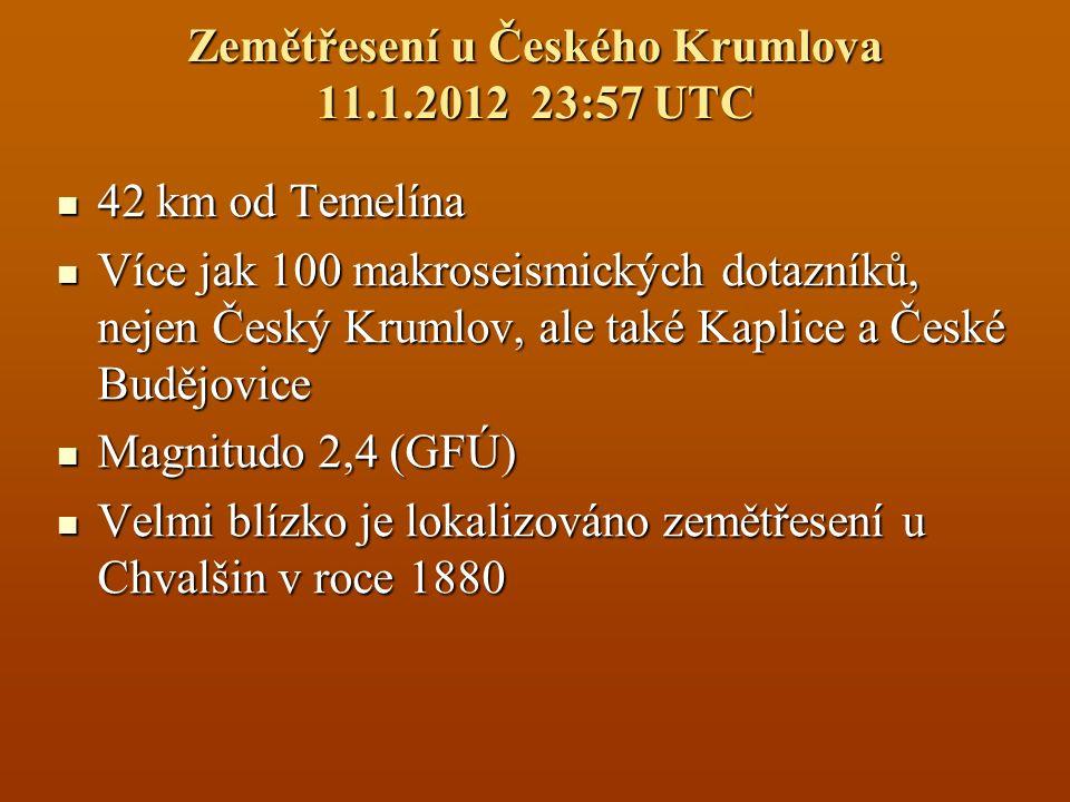 Zemětřesení u Českého Krumlova 11.1.2012 23:57 UTC 42 km od Temelína 42 km od Temelína Více jak 100 makroseismických dotazníků, nejen Český Krumlov, a