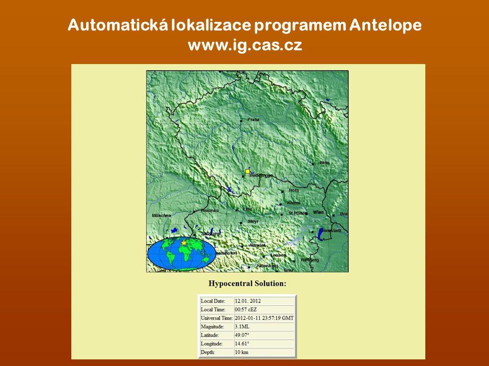 Automatická lokalizace programem Antelope www.ig.cas.cz
