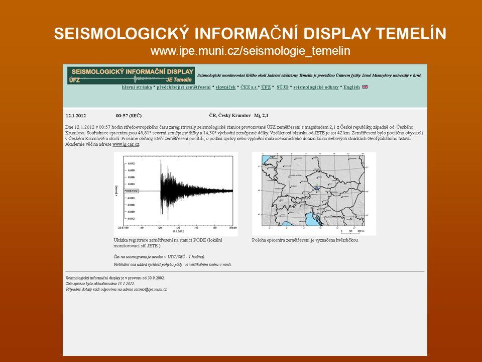SEISMOLOGICKÝ INFORMA Č NÍ DISPLAY TEMELÍN www.ipe.muni.cz/seismologie_temelin