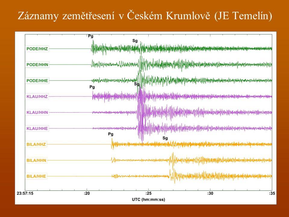 Záznamy zemětřesení v Českém Krumlově (JE Temelín)
